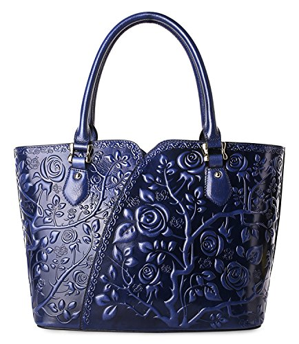 Pifuren Women Top Handle Satchel Handbags Floral Tote Purse (Y72328, Blue) by PIFUREN