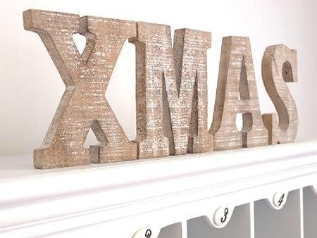 Amazon.de: XMAS Weihnachten Schriftzug Buchstaben Holz Deko ...