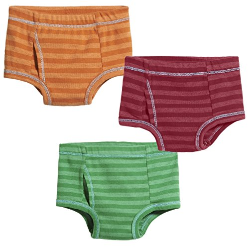 City Threads Boys' Brief Underwear Soft Cotton Perfect For Sensitive Skin Striped 3-Pack, Red/Orange/Elf, 4]()