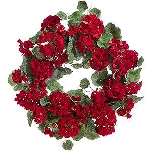 RAZ Imports Red Geranium Wreath - 22 inch 19