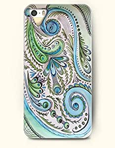 OOFIT Apple iPhone 4 4S Case Paisley Pattern ( Pale Green and Powder Blue Peacock Tail with Sharp Eyes )