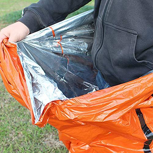 Survival Sleeping Bag PE Aluminum Film Lightweight Waterproof Thermal Bivvy Bag Emergency Blanket Bushcraft for Outdoor Camping and Hiking Qian Ya Emergency Sleeping Bag