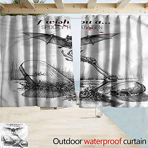 Beihai1Sun Simple Curtain Halloween Skull Zombie Rod Pocket Curtain Panels W55x63L Inches