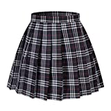 Girl's A-line Kilt Plaid Pleated Skirts (XS,Dark Blue Mixed White)