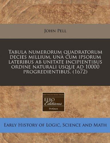 Download Tabula numerorum quadratorum decies millium, unà cum ipsorum lateribus ab unitate incipientibus ordine naturali usque ad 10000 progredientibus. (1672) pdf epub