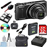 New Nikon COOLPIX S9500 Wi-Fi Digital Camera with 22x Zoom and GPS in white box promo packaging (Non-Retail)+32GB High-Speed Memory Card+Bulb Duster+Cleaning Pen+Card Reader+Cleaning Kit+Mini Tripod