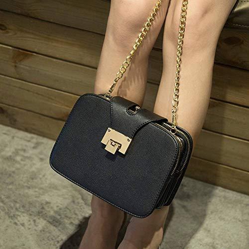Multifuncional Fashion Bolsa Negro Mujer Capas de con Tres Creative Clip dorado para YWM gwO5txq