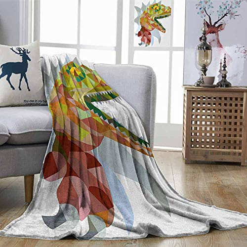 Zmstroy Digital Printing Blanket Reptile Colorful Mosaic Wild Trex Illustration Opens Mouth Jurassic Pixel Dinosaur Decor Multicolor Soft Blanket Microfiber W60 xL91
