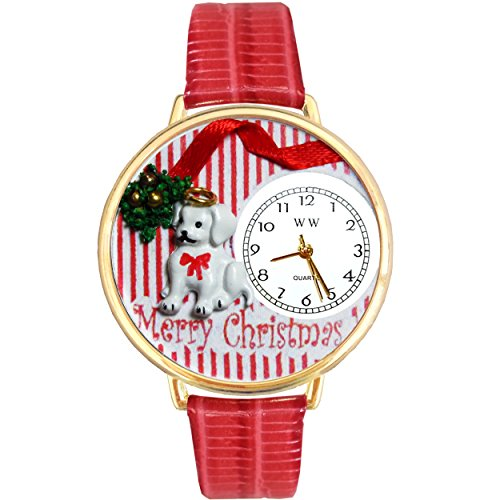 - Christmas Puppy Red Leather And Goldtone Watch #WG-G1220017