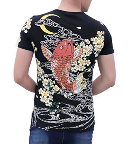 [CNS Japanese Traditional Design [ Rising Red Carp in flower T-shirt ] (L, Black)] (Cats Musical Halloween Costumes)