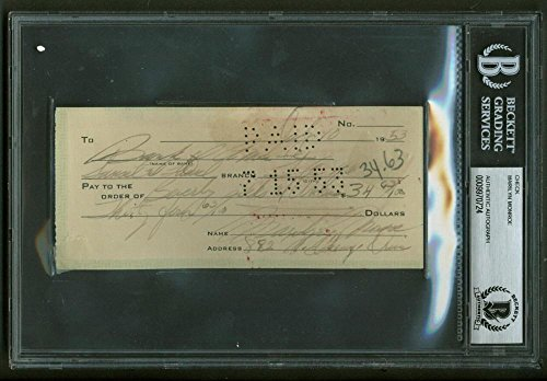Marilyn Monroe Signed Autographed 1953 Hand Written Bank Check Beckett BAS
