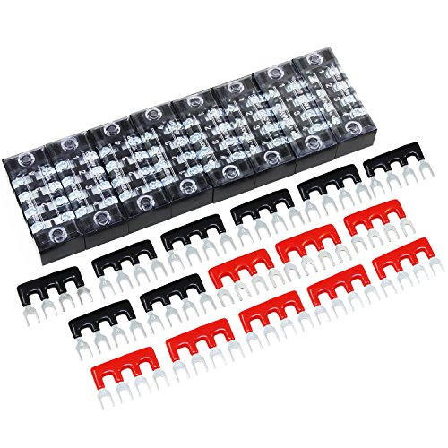 OCR 4 Position Double Row Screw Terminal Strip Blocks 600V 15A 8-Pack + Red/Black Pre-Insulated Terminal Barrier Strip 400V 15A 16-Pack ()