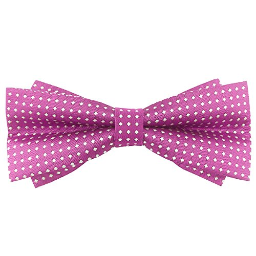 Bow Pink 24' (100% Satin Silk Bowtie Polka Dots Butterfly Knot Bow Ties for Men Pretied (Pink))