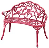 Gardenised QI003390R Powder Coated Red Rose Design Patio Garden Park Yard 40'' Outdoor Steel Bench