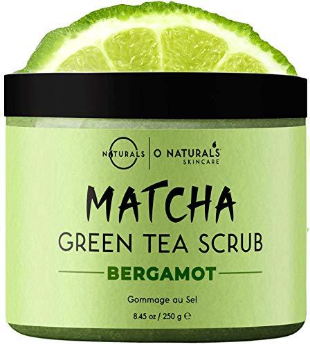 O Naturals Matcha Green Tea Scrub for Face & Body with Exfoliating Dead Sea Salt Antioxidant Cleansing Moisturizing Smoothing Skin, Reduce Inflammation & Acne. Anti Cellulite. Men & Women Vegan 8.45oz