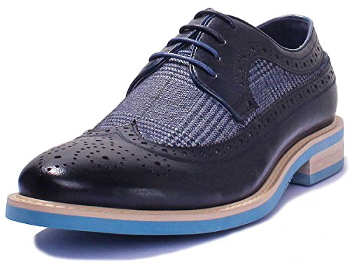 Justin Reece, scarpe da uomo, brogue stringate, a quadri, Tarten tweed stampa, blu (Navy LP2), 40