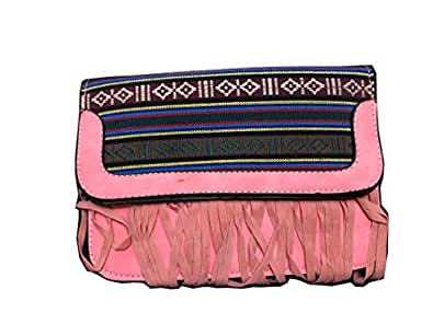 Pink Designer Tribal Pattern Fringe Suede Crossbody Bag or Purse Teens and Women