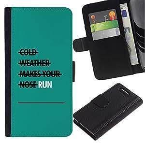 Be-Star la tarjeta de Crédito Slots PU Funda de cuero Monedero caso cubierta de piel Sony Xperia Z3 Compact ( Run Exercise Teal Motivational )