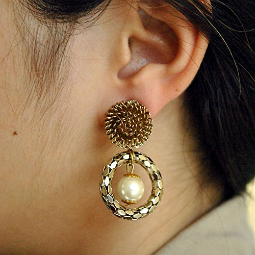 Abhika Creations Women's Modern Antique Mesh With Dangling Pearl And An Mesh Stud Handmade Earrings Dangling Pearl Stud