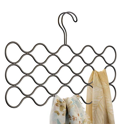 InterDesign Classico Wave Scarf Hanger, No Snag Storage for Scarves, Ties, Belts, Shawls, Pashminas, Accessories - 23 Loops, Bronze