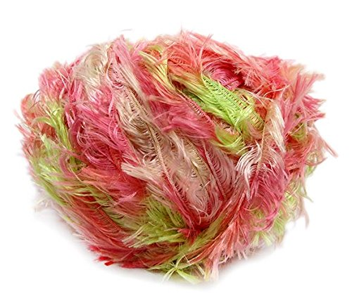 (Crystal Palace Splash #9520 Tulips - Pinks, Greens, White Feather Boa Short Eyelash Yarn 100 gram 85 Yards)