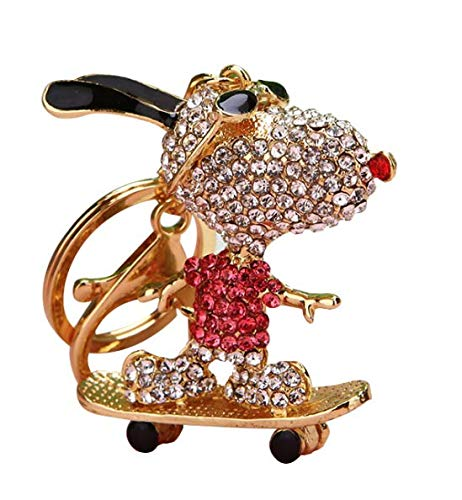 Elfstore Special 3D Snoopy on Skateboard Pink Luxury Figure New Fashion Rhinestone Crystal Key chain Purse Clipper Chain Gift Comes with Wooden Textured Charms for Good ()