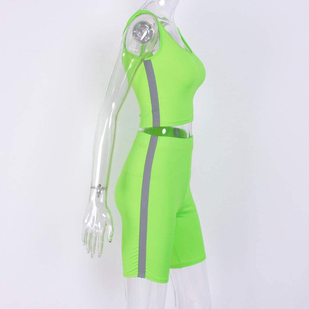 Kaister Tracksuit for Women Bosom Wrapping Fluorescent Color Yoga Shorts Sports Running Suit