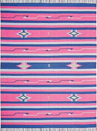 Rivet Modern Medallion Area Rug, 10 x 8 Foot, Fringed, Pink, Blue