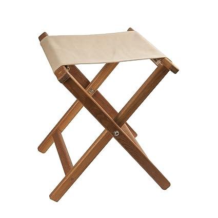 Stupendous Teak Framed Folding Camp Stool With Khaki Canvas Seat Camellatalisay Diy Chair Ideas Camellatalisaycom