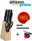 ABbuy Stainless Steel Knife Set with Knife Sharpener - Kitchen Knife Set with Wooden Stand - 7 Pieces