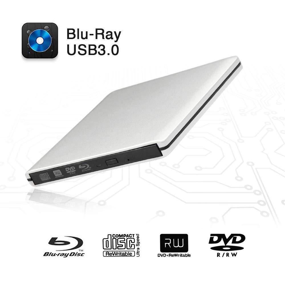 External Blu-Ray DVD Drive USB 3.0 Portable Ultra-Thin 3D CD BD Blu-ray Player/Writer/Burner BD-ROM Used for Various Brand Computer PC Desktop, Laptop