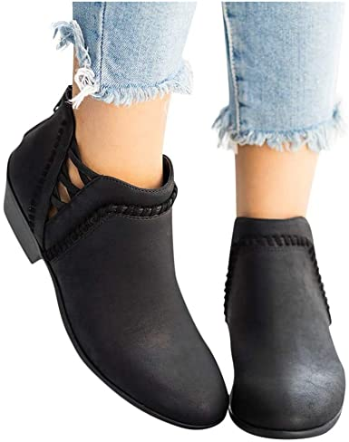 Ankle Booties for Women Flat,Hollow