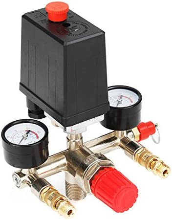 Queenwind 90-120PSI 空気圧縮機圧力スイッチ制御弁マニホールドレギュレータゲージ