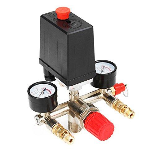 Hitommy 90-120Psi Air Compressor Pressure Switch Control Valve Manifold Regulator Gauge