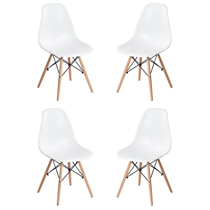 GreenForest Eames Chair Natural Wood Legs Eiffel For Dining Room Plastic  Side Chairs, Set Of