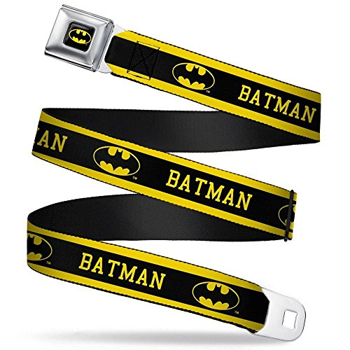 Batman Logo Belt Buckle - Buckle-Down Seatbelt Belt - BATMAN/Logo Stripe Yellow/Black - 1.5