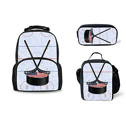 CHAQLIN Ice Hockey Printed Childrens Shoulder Felt Backpacks Lunch Bags Pencil Bag 3 Piece Sport Lightweight by CHAQLIN