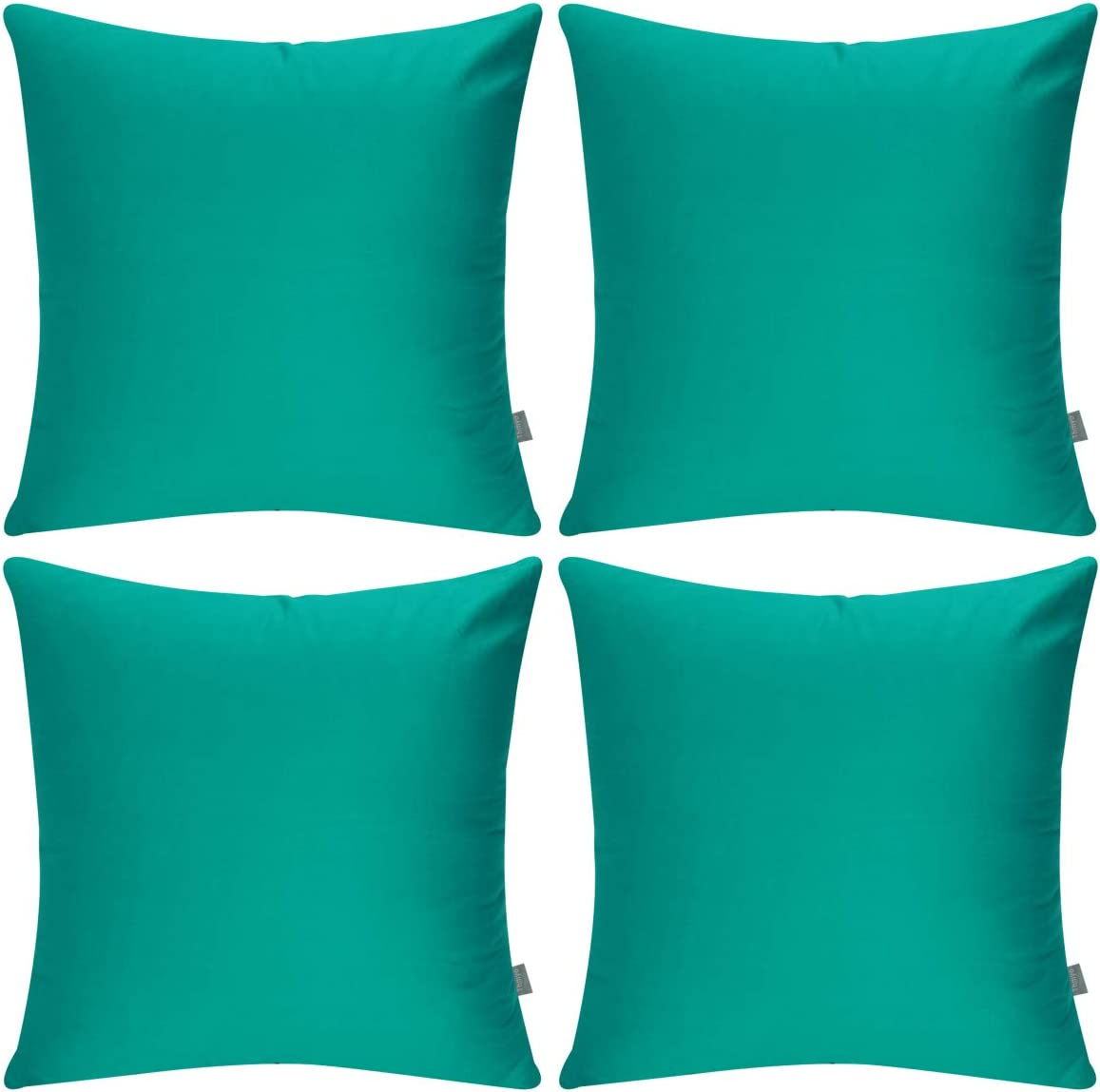 4-Pack 100% Cotton Comfortable Solid Decorative Throw Pillow Case Square Cushion Cover Pillowcase(Cover Only,No Insert) (18x18 inch/ 45x45cm,Lake Blue)