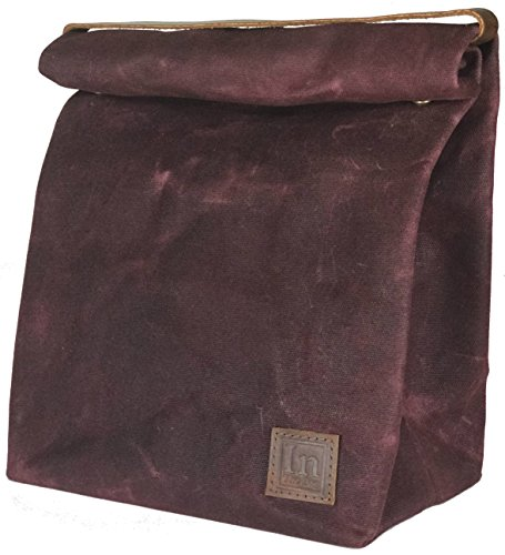 - Lunch Bag (Lunch Box) Large Lined Waxed Canvas Roll Top Tote Bag with Leather Strap Carrying Handle and Brass Snap Closure - Red Wine - by In The Bag