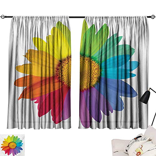 (Flower Simple Curtain Rainbow Colored Sunflower or Daisy Spring Inspired Image Hippie Style Modern Design Privacy Protection)