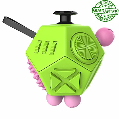 12 Sided Fidget Cube - Fidget Dice ii Green - Fidgeting Toys - Stress Anxiety Reliever - Great For ADD ADHD OCD Autism - For Adults and Children - Durable and Safe - EDC Fidgets - Prime by Ombrace