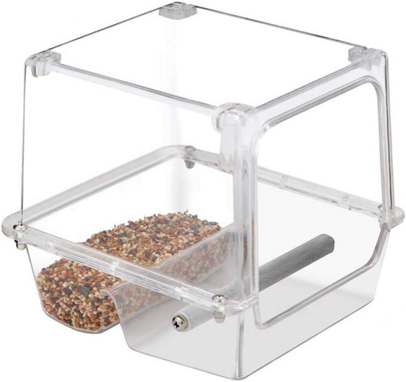 Xinllm Comedero Jaula Pajaros Comederos Cobaya Alimento para Aves de Almacenamiento Claro alimentador de Aves Mealworm alimentador Jardín pájaro