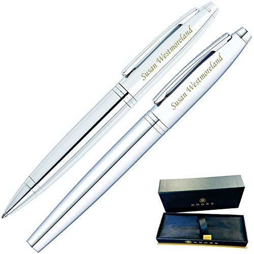 Dayspring Pens | Engraved/Personalized Cross Calais Ballpoint and Rollerball Double Pen Gift Set with Case - Chrome ()