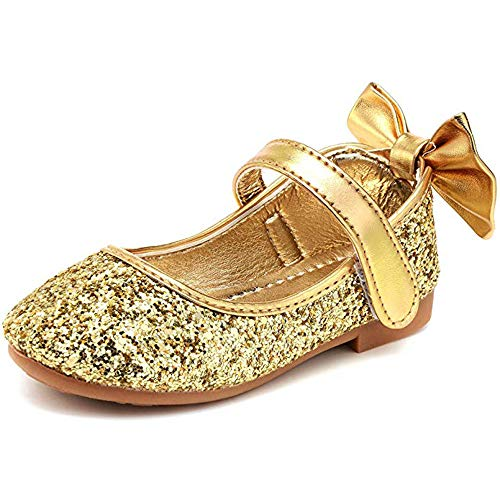 YING LAN Girl Round-Toe Sparkle Bowknot Ballet Ballerina Flat Shoes Gold (Sparkle Girls Gold)