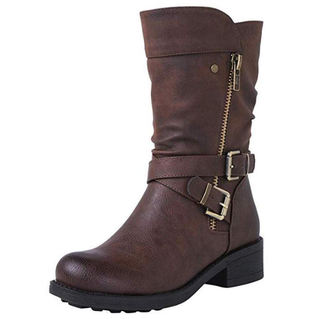 Onefa Women's Fashion Mid-Calf Boots Buckled Low Heels Ankle Boots Round Toe Casual Shoes by Onefa
