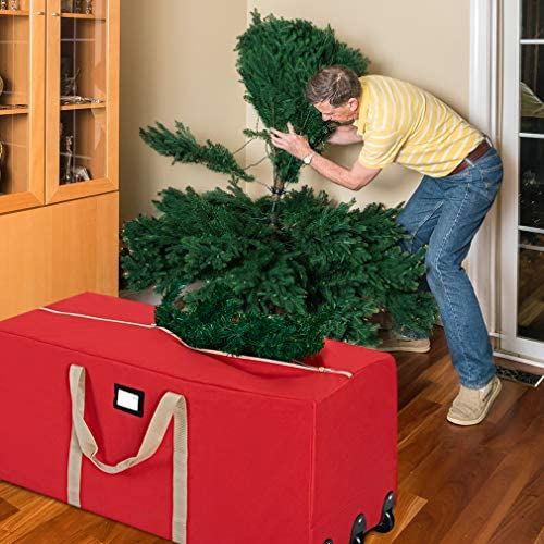 "ProPik Christmas Tree Storage Bag Rolling, Fits Up to 9 feet. Xmas Tree, 25"" Height X 20"" Wide X 60"" Long, Extra Large Heavy Duty Storage Container with Wheels and Handles, 600D Oxford (Red)"