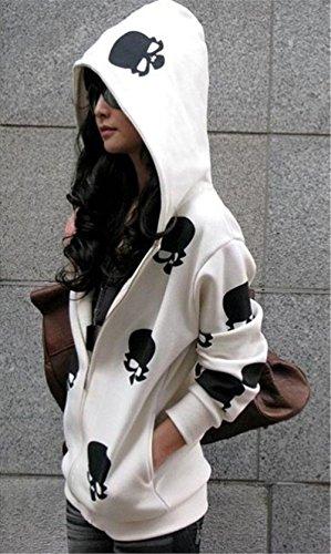 Otoño con Calaveras Chaquetas Larga COCO Capucha de Sweatshirt Mujer 57xTv