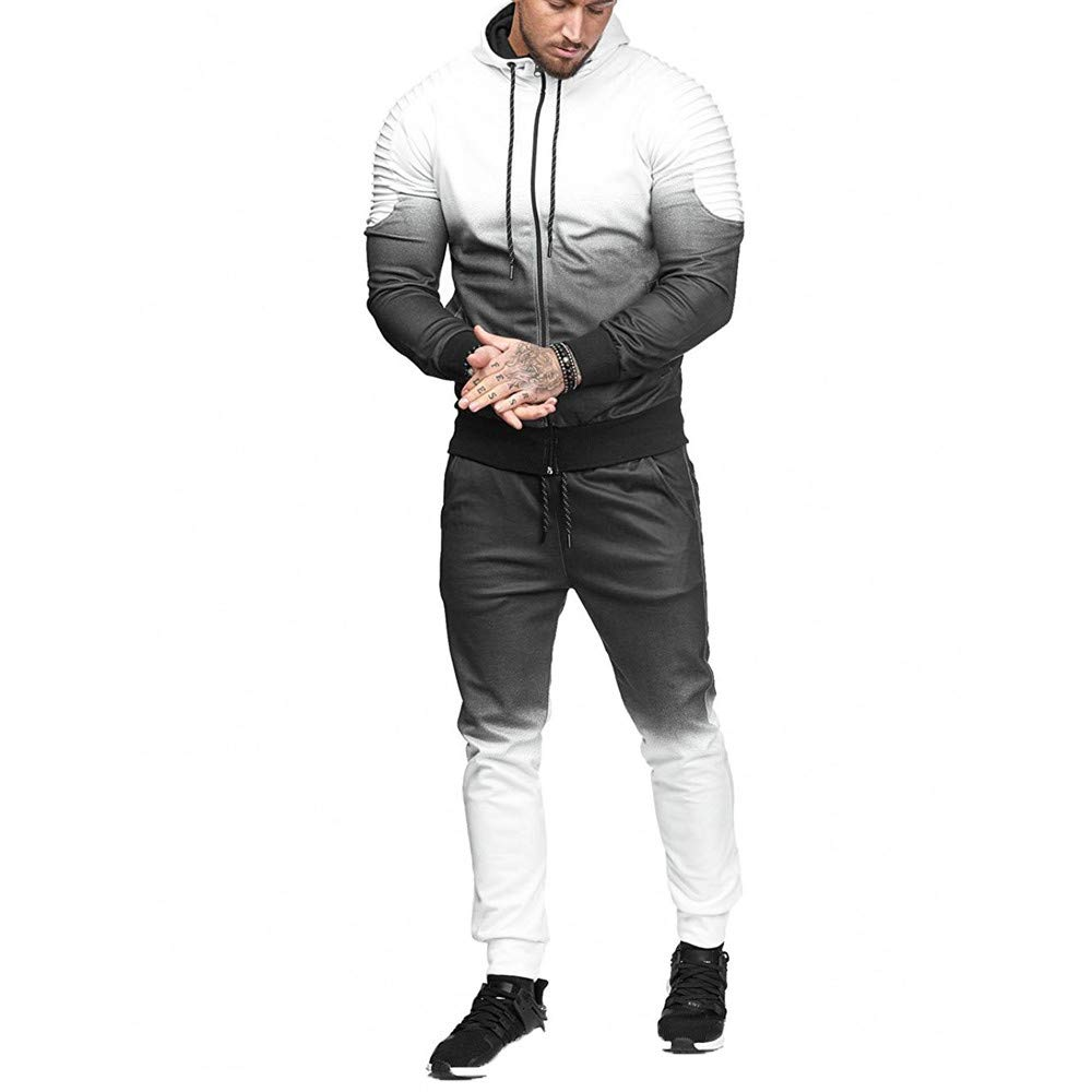 2018 Lastest,WUAI Clearance Mens Hooded Sweatshirt Sets Casual Outdoors Gradient Sports Slim Fashion Suit Tracksuit(White,US Size S = Tag M)