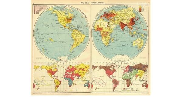 Races Of The World Map.Amazon Com World Population Races Religions Bartholomew 1924