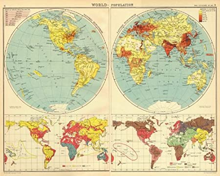 Races Of The World Map.World Population Races Religions Bartholomew 1924 Map Amazon Co